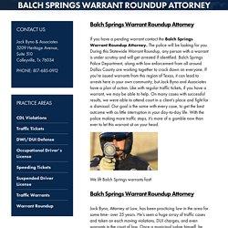 Balch Springs Warrant Roundup Attorney, Warrant Roundup TX