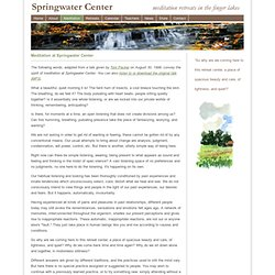 Springwater Center: Meditation at Springwater Center