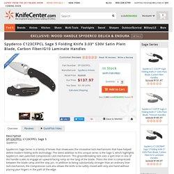 "Spyderco C123CFPCL Sage 5 Folding Knife 3.03"" S30V Satin Plain Blade, Carbon Fiber/G10 Laminate Handles - KnifeCenter"