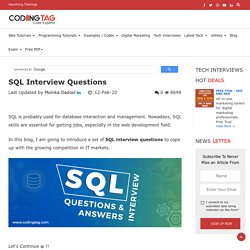 Top 30 SQL Interview Questions : Coding Tag