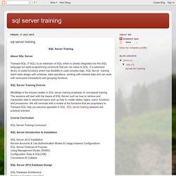 sql server training: sql server training