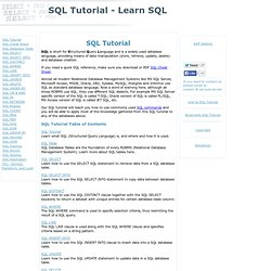SQL Tutorial - Learn SQL