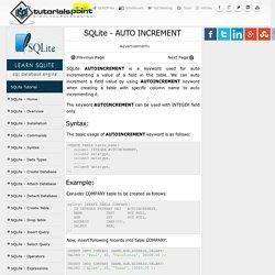 SQLite - AUTO INCREMENT