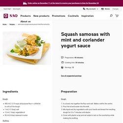 Squash samosas with mint and coriander yogurt sauce