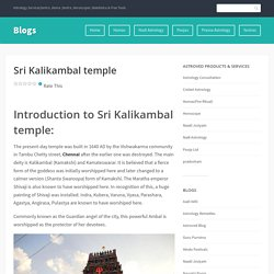 Sri Kalikambal temple – Blogs