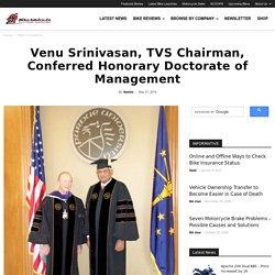 Venu Srinivasan, TVS Chairman, Conferred Honorary Doctorate of Management
