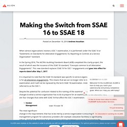 SSAE 16 to SSAE 18: Making the Switch