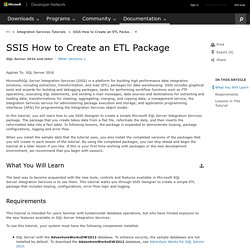 SSIS How to Create an ETL Package