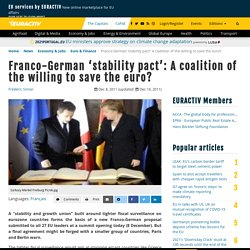 Franco-German 'stability pact': A coalition of the willing to save the euro?