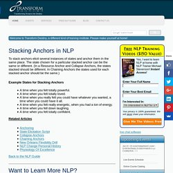 NLP Stacking Anchors - Free NLP Guide from Transform Destiny - Live NLP and Hypnosis Trainings and Seminars
