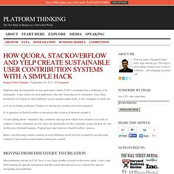 How Quora, StackOverflow And Yelp Create Sustainable User Contribution Systems With A Simple Hack : Platform Thinking