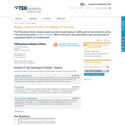 Visit TEKsystems Reston, Virginia Office Location for Reston area IT services and IT staffing.