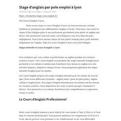 Stage d'anglais par pole emploi à lyon