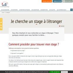 Stage à l'étranger - UFE : Union des Français de l'Etranger