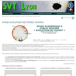 SVT Lyon [Stage Evolution des êtres vivants]
