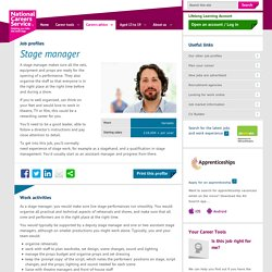 Stage manager Job Information