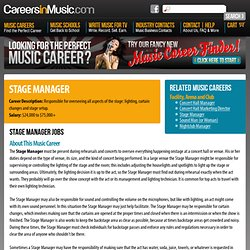 Stage Manager - Music Career