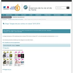 """Stage """"Usages des jeux sérieux en classe"""" 2015-2016"""