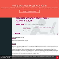 Stagiaire assistant Travel Sales Manager, B2B, H/F