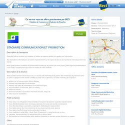 stage STAGIAIRE COMMUNICATION ET PROMOTION - MonStage.be