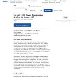Stagiaire HSE Revue de processus Analyse de Risques H/F - Pierre-Bénite (69)