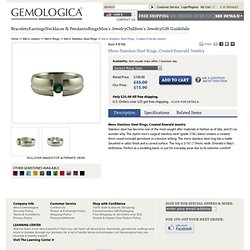 Mens Stainless Steel Rings, Created Emerald Jewelry - Gemologica, A Fine Online Jewelry Store