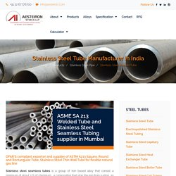 Stainless Steel Tube manufacturer in India