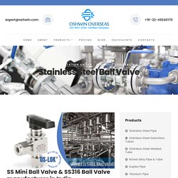 Stainless Steel Ball Valve Manufacturer In India