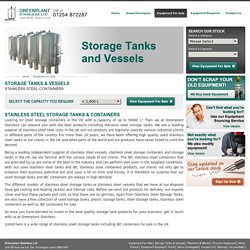 Stainless Steel Storage Tanks & Vessels UK