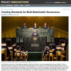 Creating Standards for Multi-Stakeholder Governance