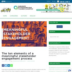 The ten elements of a meaningful stakeholder engagement process - Sostenibilidad