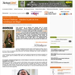 Richard Stallman : interdire le prêt de livre numérique est illégal