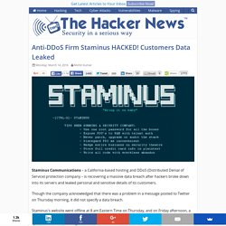 Anti-DDoS Firm Staminus HACKED! Customers Data Leaked