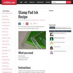 Stamp Pad Ink Recipe