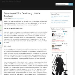 Standalone CEP is Dead-Long Live the Database
