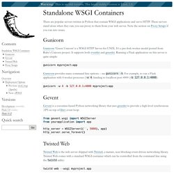 Standalone WSGI Containers — Flask 0.12.4 documentation