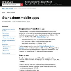 Standalone mobile apps — Government Service Design Manual