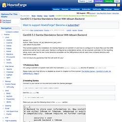 CentOS 5.3 Samba Standalone Server With tdbsam Backend