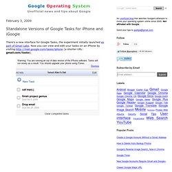 Standalone Versions of Google Tasks for iPhone and iGoogle