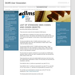 List of standard OBIS codes and COSEM objects