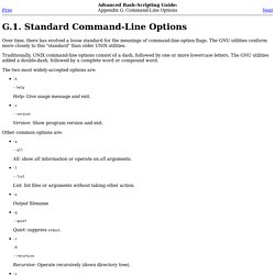 Standard Command-Line Options