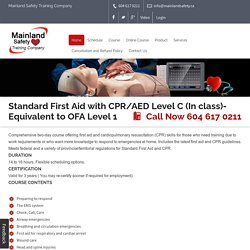 Get Training Of Standard First Aid At Mainland Safety