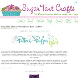 Sugar Tart Crafts: Standard Measurements for Kids Clothes