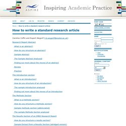 How to write a standard research article