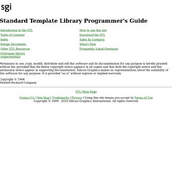 Standard Template Library Programmer's Guide