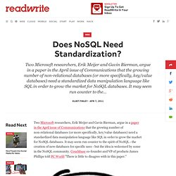 Does NoSQL Need Standardization? - ReadWriteCloud