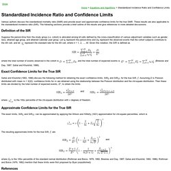 Standardized Incidence Ratio and Confidence Limits
