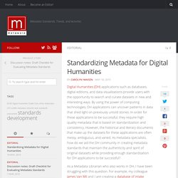 Standardizing Metadata for Digital Humanities