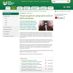 FSA 13/03/12 Views sought on using lactic acid on beef carcasses