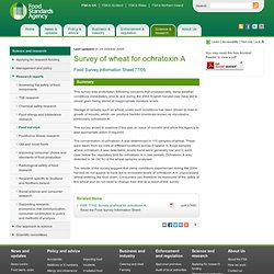 FSA 25/10/05 Survey of wheat for ochratoxin A
